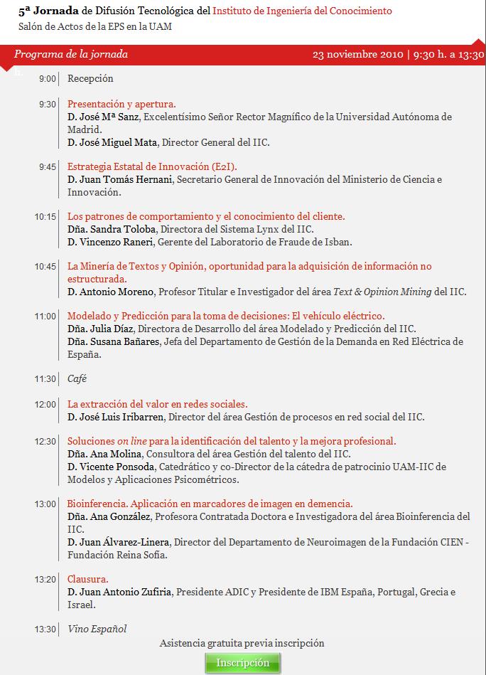 5ta Jornada de Difusión Tecnológica del IIC #Madrid #España