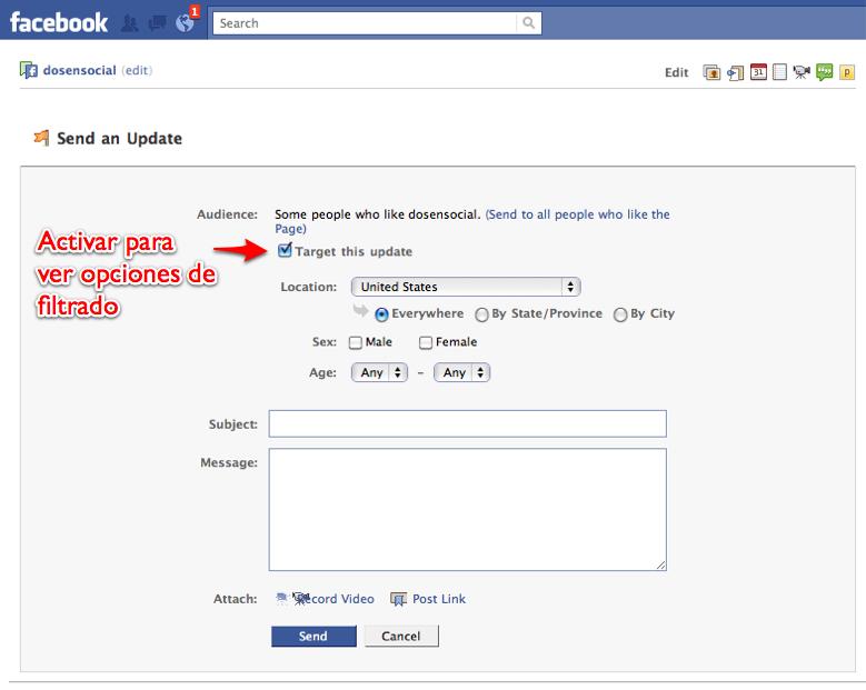 Sabías que puedes enviarle un mensaje a todos los fans de tu página Facebook?