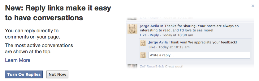¿Facebook te ofrece la opción de activar las Respuestas Anidadas a comentarios en tu Página? Lee esto antes.