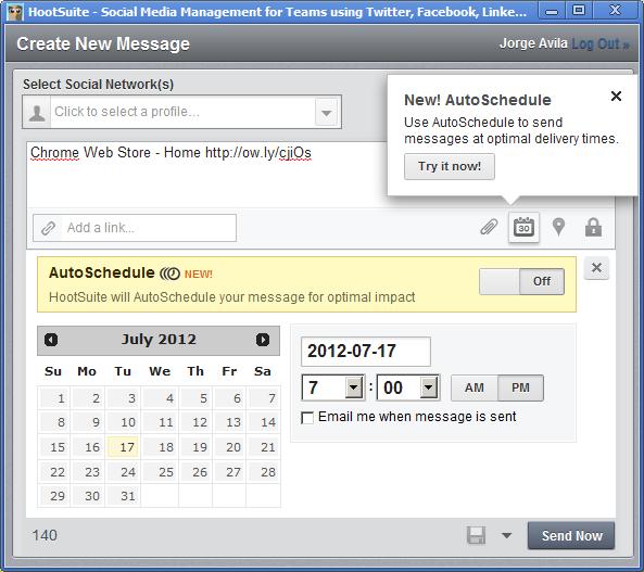 Ahora Hootsuite con AutoSchedule para tus publicaciones!…