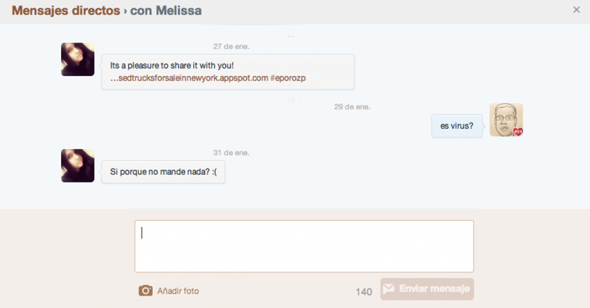 Mi cuenta de Twitter está mandando mensajes privados (DM) ¿qué hago?